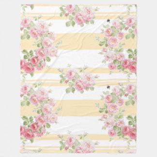 Cobertor De Velo Listra do botão de ouro dos rosas do verão do