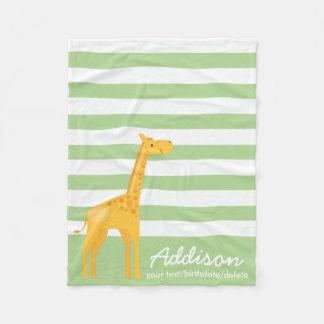 Cobertor De Velo Listra personalizada bonito do verde da hortelã da