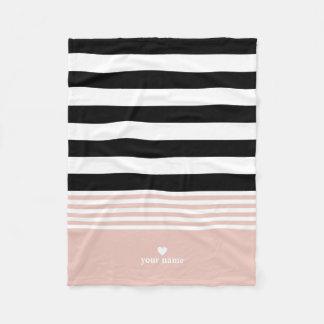 Cobertor De Velo Listrado preto, branco & cor-de-rosa personalizado