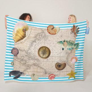 Cobertor De Velo Listras azuis do tesouro marinho