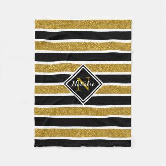 Cobertor De Velo Listras do brilho B&W do ouro com nome & monograma