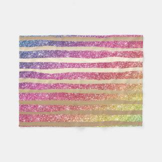 Cobertor De Velo Listras do ouro do brilho do arco-íris do falso