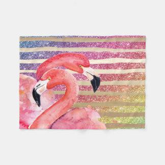 Cobertor De Velo Listras do ouro do brilho dos flamingos da