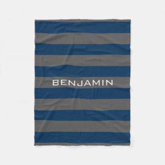 Cobertor De Velo Listras do rugby dos azuis marinhos e das cinzas
