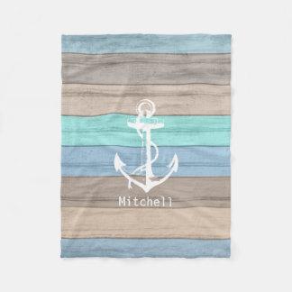 Cobertor De Velo Listras náuticas de madeira & âncora da praia