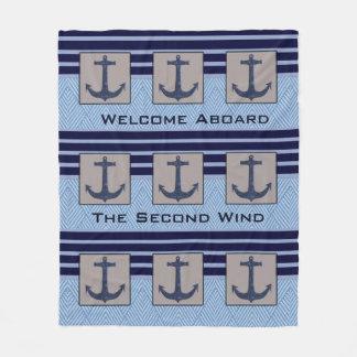 Cobertor De Velo Listras náuticas do design & dos azuis marinhos da