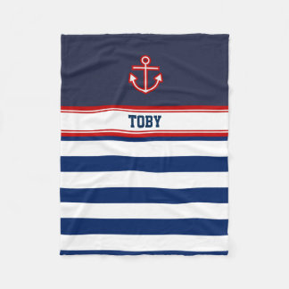 Cobertor De Velo Listras náuticas feitas sob encomenda do branco do