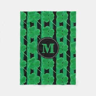 Cobertor De Velo Listras pretas verdes dos trevos | do dia de St