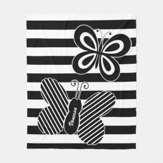 Cobertor De Velo Listras preto e branco na moda da borboleta com