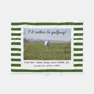 Cobertor De Velo Listras verdes & brancas da foto Golfing feita sob