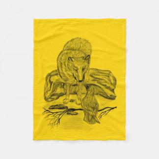 Cobertor De Velo Lobo e corvo - design do preto e do amarelo