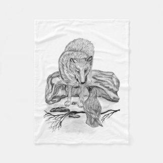 Cobertor De Velo Lobo e corvo - design preto e branco