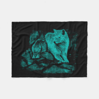 Cobertor De Velo Lobo e corvo na noite