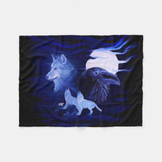 Cobertor De Velo Lobos e corvo com Lua cheia