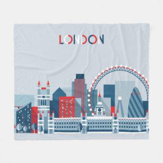 Cobertor De Velo Londres, Inglaterra skyline vermelha, branca e