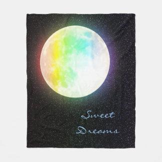 Cobertor De Velo Lua do arco-íris e céu nocturno estrelado