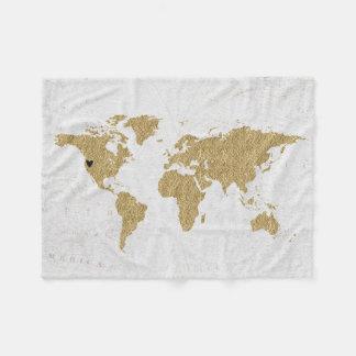 Cobertor De Velo Lugar móvel feito sob encomenda do coração do mapa
