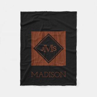 Cobertor De Velo Madeira rústica de mogno Monogrammed elegante do