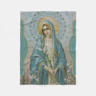 Cobertor De Velo Mãe abençoada Mary do Virgin com lírios