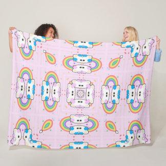 Cobertor De Velo Mandala bonito do arco-íris do gatinho do