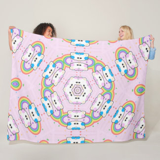 Cobertor De Velo Mandala cor-de-rosa bonito do gatinho do unicórnio