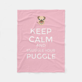 Cobertor De Velo Mantenha a calma & Snuggle seu Puggle - COBERTURA