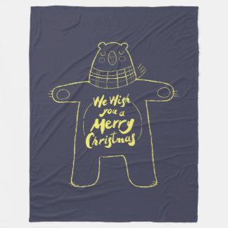 """Cobertor De Velo Mão bonito azuis marinhos tirados do """"Feliz Natal"""""""