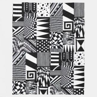 Cobertor De Velo mão branca do teste padrão do preto geométrico