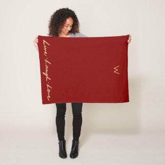 Cobertor De Velo Mão Monogrammed chique amor vivo rotulado do riso