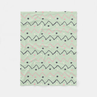 Cobertor De Velo Mão verde Pastel Chevron preto & cor-de-rosa