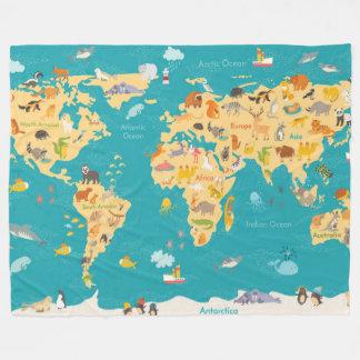 Cobertor De Velo Mapa animal do mundo para miúdos