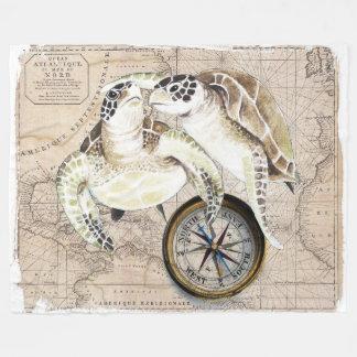 Cobertor De Velo Mapa de compasso das tartarugas de mar