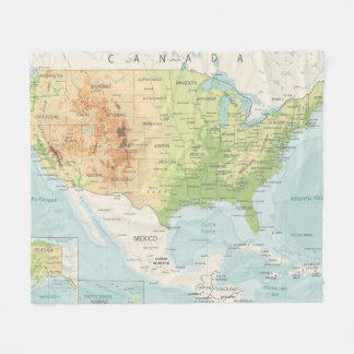 Cobertor De Velo Mapa de cor retro do mundo