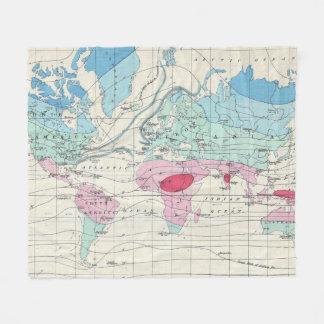 Cobertor De Velo Mapa do clima do mundo do vintage (1870)