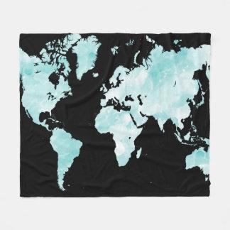 Cobertor De Velo Mapa do mundo azul preto do design 72