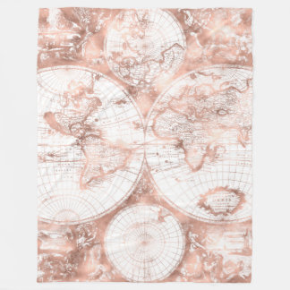 Cobertor De Velo Mapa do mundo cor-de-rosa da antiguidade do brilho