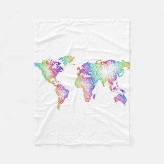 Cobertor De Velo Mapa do mundo do arco-íris