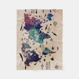 Cobertor De Velo mapa do mundo do oceano