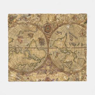 Cobertor De Velo Mapa do mundo do vintage