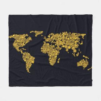 Cobertor De Velo Mapa do mundo dourado do ponto