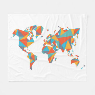 Cobertor De Velo Mapa do mundo geométrico abstrato