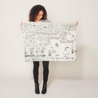 Cobertor De Velo Mapa do mundo medieval Quebeque Novo-France