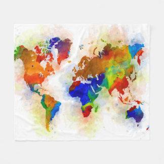 Cobertor De Velo Mapa do mundo multicolorido do design 77