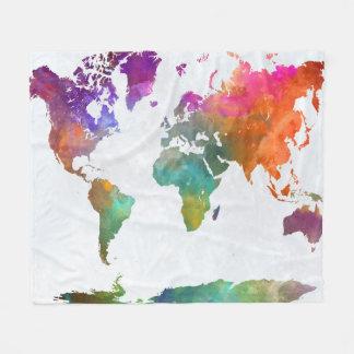 Cobertor De Velo Mapa do mundo na aguarela