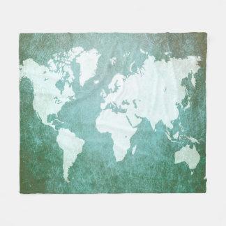 Cobertor De Velo Mapa do mundo verde do design 55
