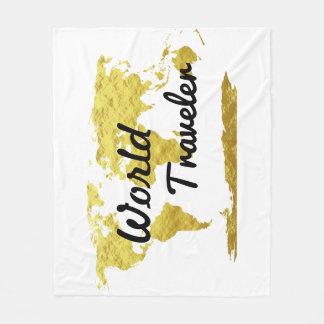 Cobertor De Velo Mapa do ouro do viajante de mundo