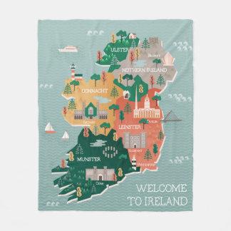 Cobertor De Velo Mapa do viagem de marcos & de cidades de Ireland |