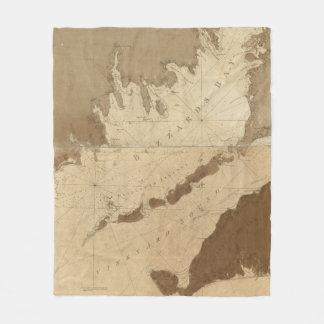 Cobertor De Velo Mapa do vintage da baía dos Buzzards (1776)