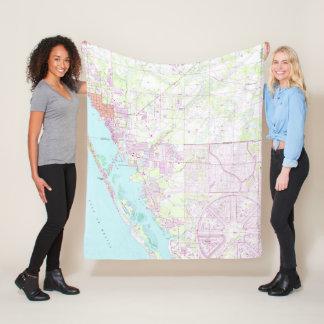 Cobertor De Velo Mapa do vintage da cidade FL de Englewood & de