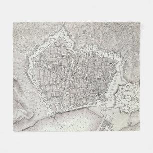 Cobertor De Velo Mapa do vintage da espanha de Barcelona (1806)